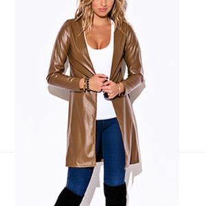 Faux Leather Coat - Tan